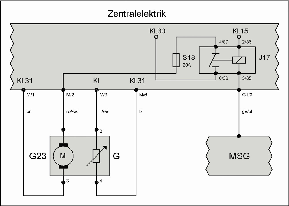 Relais J17 (Kraftstoffpumpe) – T4-Wiki