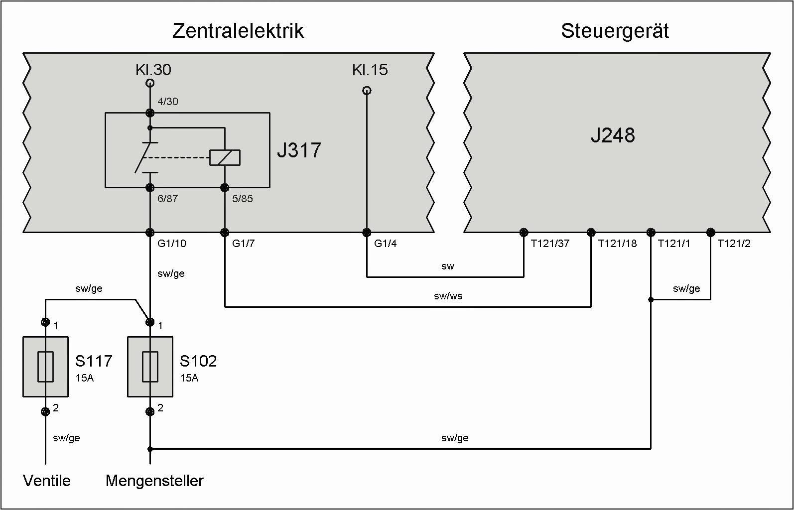 Relais J317 Spannungsversorgung Klemme 30 T4 Wiki